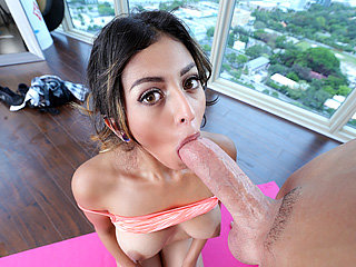 18 yo babe Sophie gets her twat drilled by a big cock after a yoga