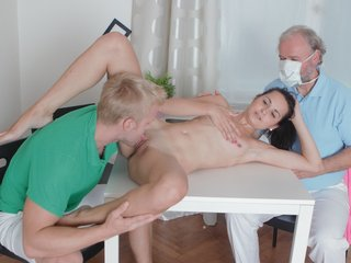 Lora is a young virgin and with her man having the doctor come over, will be inspected as a virgin.
